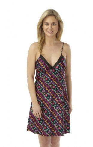Ladies Short Satin Chemise with Multicoloured Design Sizes 10 - 22